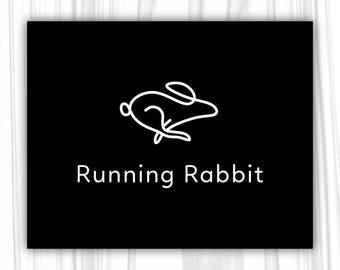 Running rabbit logo design | Premade Logo Design | Photography Logo | Blog Logo | Boutique Logo | Business Logo