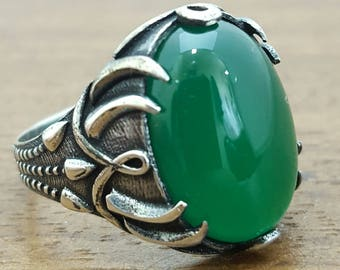 925K Sterling Silver Mens Ring With Natural Green Agate Stone