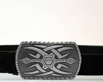 Leather Belt with Maori Tattoo Black Silver Buckle