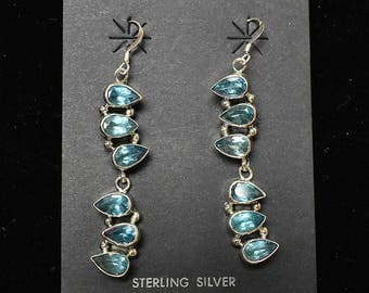 Sterling Silver Earrings, Blue Topaz Teardrop Dangle Hooks, Navajo SS New Mexico