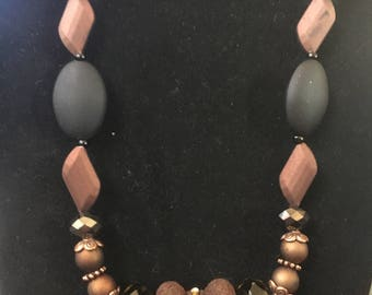 Black,brown and copper necklace and earrings set