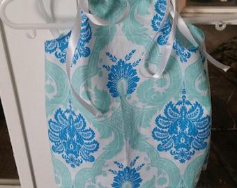 Pillow case dress/ Ribbon dress/ DAMARK pattern /blue