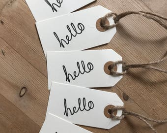Hello tags - Handmade tags - Stamped tags - Gift tags - Twine - pack of 5