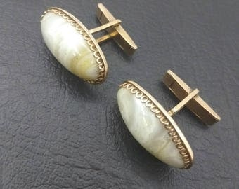 Goldplated vintage silver cufflinks with natural stones