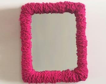 Plush Hot Pink Soft Mirror for Dorm Room Decor.