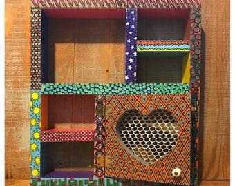 Shadow Box Hand Painted Bright Colorful Funky Six Shelf Wood Wall Decor