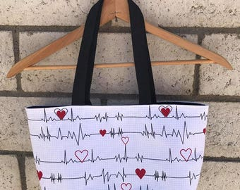 Nurse EKG heart beat tote bag