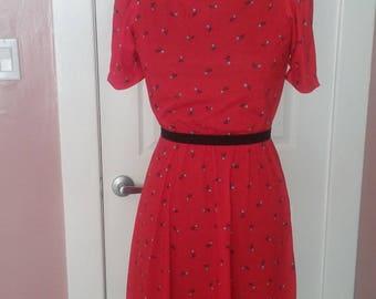 Vintage blue rose red dress