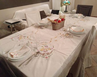 Vintage fruit embroidery tablecloth