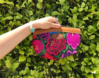 Pink flower huipil cosmetic bag