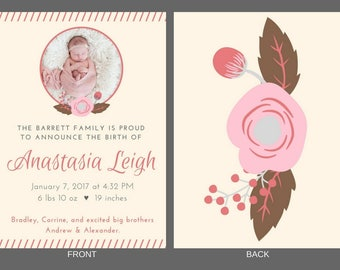Baby Girl Birth Announcement - Anastasia