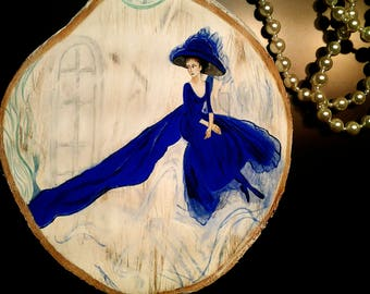At Looking for an Inspiration - art painting, wood slice art, Hand Painted Wood