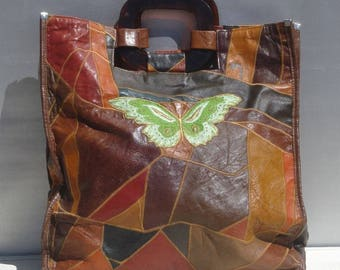 KATHMAR Multi-color Soft Leather Tote Bag Butterfly Applique / Name Stitched Vintage