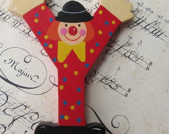Sevi Italy Vintage Wooden Clown Letter Y