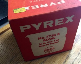 "Vintage Original No. 7756 B Bowl 6 Cup 1950 Era Pyrex Coffee Percolator Empty Box ""Box Only"""