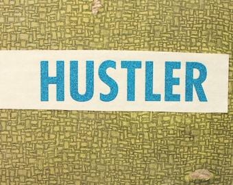 hustler heat press transfer iron on for t-shirts, sweatshirts . blue glitter iron on letters