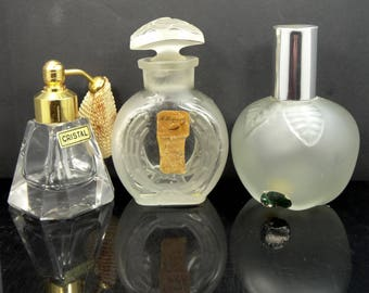 3 Vintage Glass Perfume Bottles RIGAUD Un Air Embaume, Cristal & Max Factor Green Apple