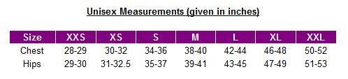 Unisex size chart - UK sizes