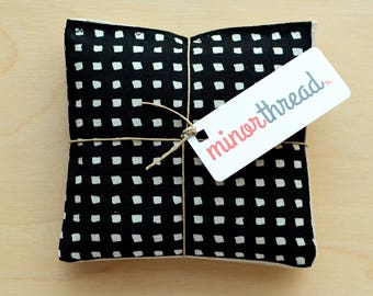 Organic Lavender Sachets in Black and White Squares & Natural Linen Fabric Set of 2 Lavender Scented Pillows Natural Home
