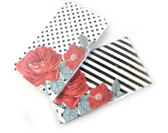 Choice of mini planners - Modern Roses - choose dots or stripes - 2 year planners 2017 - 2018 elegant floral pocket planner stocking stuffer