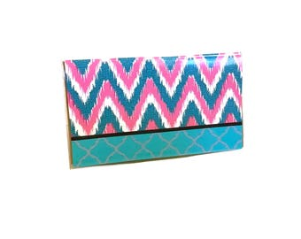 ikat chevron mini notebook - pink and teal - 30 page blank unlined notes - pocket sized
