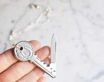 Lucky Charm Key Shaped Silver Toned Pocket Knife Necklace