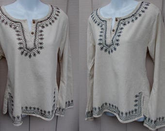 Vintage 90s does 70s Black Embroidered on Natural Off-White Peasant Blouse by Bhag's / smock folk Top Boho Hippie // Sz. Med