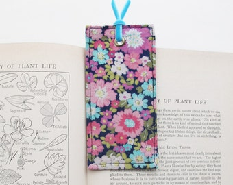 Floral Fabric Bookmark   Pretty blue and pink fabric book mark for books. Unique and inexpensive gift for book lovers, teachers, or friends.