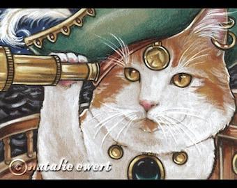 Cat Lover Art Pirate Cat Art Print Cat Painting Cat Lady Cat Lover Gift Cat Decor Nursery Wall Art Nursery Decor Pirate Decor Calico Cat
