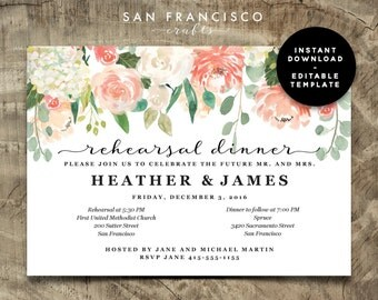Rehearsal Dinner Invitation INSTANT DOWNLOAD |  Editable Rehearsal Dinner Invite Template - 2 versions | Heather Collection | Printable PDF