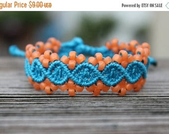 SALE Micro-Macrame Beaded Bracelet - Peach and Blue