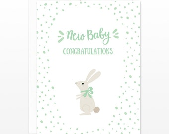 New Baby Bunny Congratulations Card - Cute New Baby Greeting Card - New Parents, New Mom, Baby Shower, Baby Boy, Baby Girl, Cute Rabbit Card