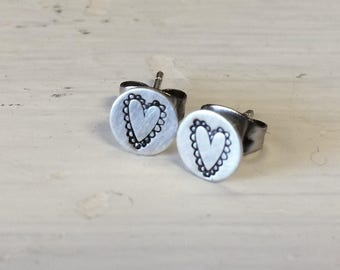 Sterling Stamped Frilly Vintage Heart Stud Earrings