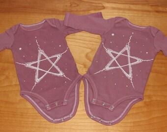 starchild - 100% cotton baby one-piece bodysuit - hand dyed in claret rose - 3 to 6 months