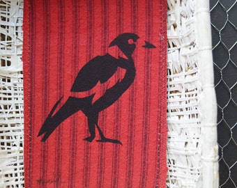 Magpie illustration mixed media art. Red Fabric card. Screen printed Bird. Upcycled Textile Wall Art. Eco friendly. Australian Souvenir.