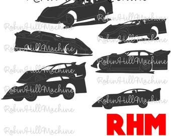 Dirt Track Late Model Race Cars DXF SVG files for plasma cutting water jet laser cnc racing car dirt track CNC plasma
