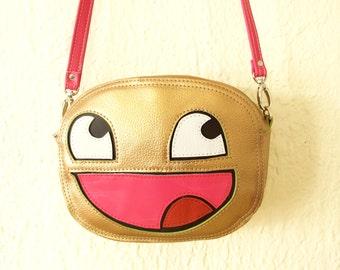 Awesome Emoji Gold Leather Bag Handmade