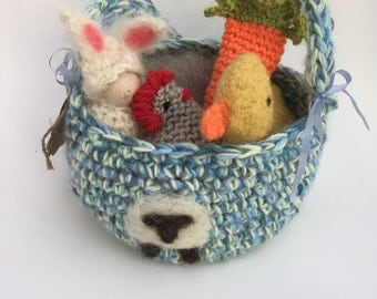 Easter basket set Waldorf inspired bunny,hen,duck,sheep and carrot