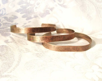 5 antiqued copper brass bracelets for stamping, metal stamping, brass bracelet blank, stamping supplies, wire wrapped bracelet