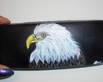 American Bald Eagle  Hand Painted Eyeglass Case