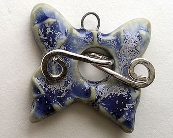Blue Butterfly Porcelain Toggle Clasp with Sterling Silver Bar by Mary Harding