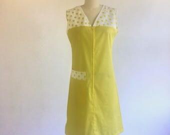 1960s 1970s Yellow Polka Dot House Dress by Philmaid