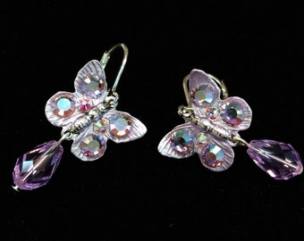 Butterfly Earrings with  Sparkling Violet Crystals