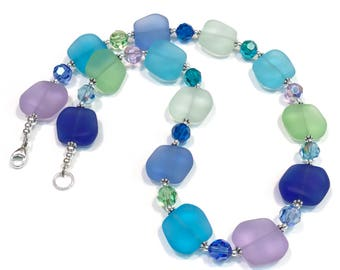 Matte Frosted Glass and Swarovski Crystal Necklace
