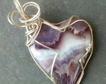 Amethyst Heart Pendant Sterling Wire Wrapped Artisan Jewelry OOAK Chevron Amethyst