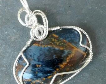 Pietersite Pendant Sterling Wire Wrapped OOAK Handmade Jewelry Artisan Jewelry Gemstone Jewelry
