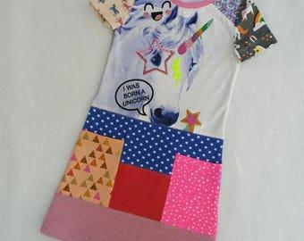 Size 6+ upcycled girls unicorn dress, girls clothing, children's clothing,  gift, girls dress, ooak, retro, girls clothes, unique