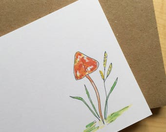 Watercolor Flat Note Stationery Set - Mushroom Stationery - Personalized - Blank - Red Mushroom - Botanical Note Cards - Set of 8