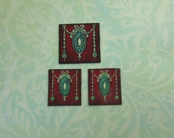 Dollhouse Miniature Set of Three Swag Design Tiles for Decorating