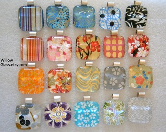 Wholesale Lot 12 Glass Pendants with Japanese Paper,  Washi Chiyogami  Glass and Paper Pendants, Willow Glass